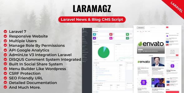 Laramagz - Laravel News & Blog CMS Script