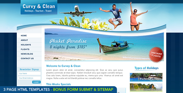 Free Download Curvy and Clean Travel Template - HTML Nulled Latest Version