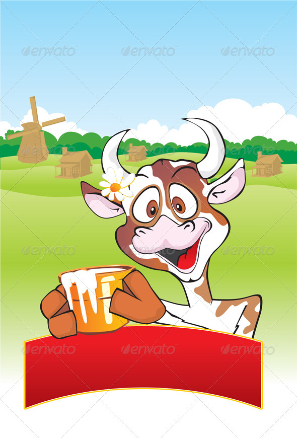 Cow with a milk pot - Animals Characters