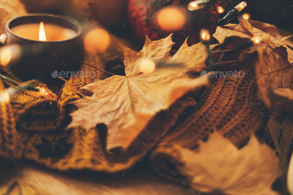 Autumn hygge. Cozy moody image of autumn leaves - Stock Photo - Images