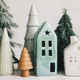Miniature cozy village, ceramic houses, wooden and handmade christmas trees - PhotoDune Item for Sale