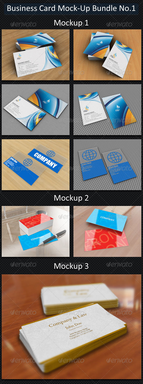 Business Card Mock-Up Bundle No.1 - Business Cards Print