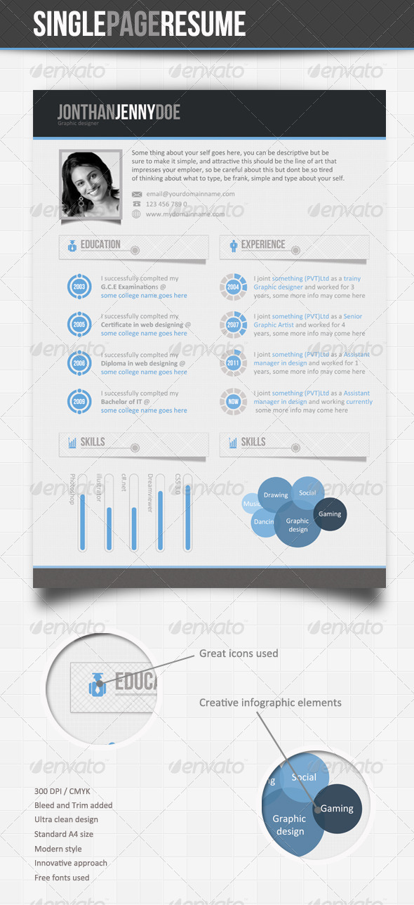 Clean Blue - Single Page Resume Template - Resumes Stationery