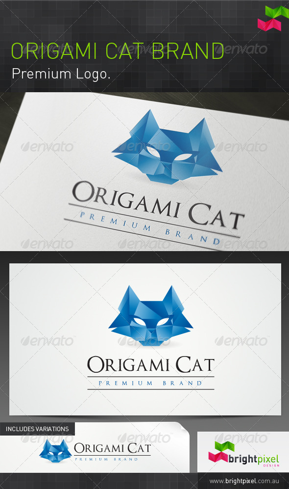 Origami Cat Brand - Animals Logo Templates