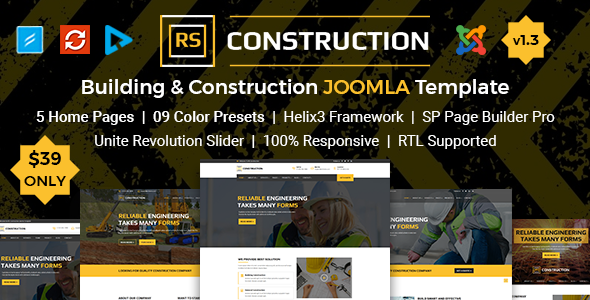 RSConstruction - Building and Construction Joomla Template