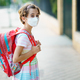 Nine years old girl goes back to school wearing a mask and a schoolbag - PhotoDune Item for Sale