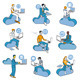 Cloud Computing Blue Men Set - GraphicRiver Item for Sale