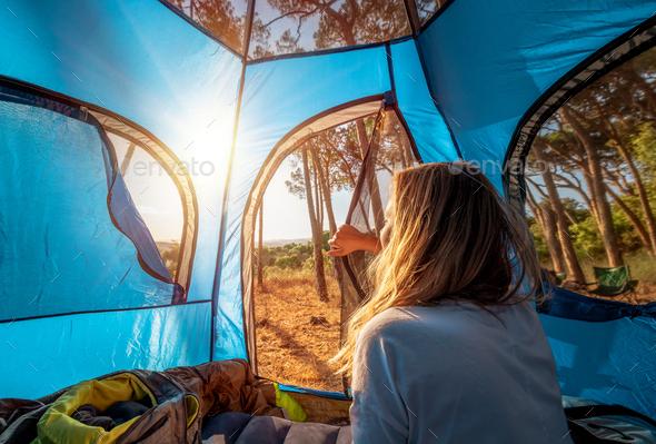 Female Enjoying Camping - Stock Photo - Images