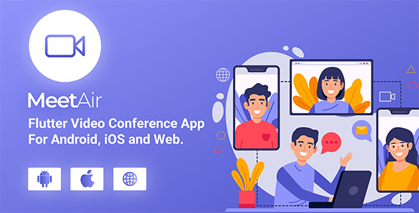 MeetAir - iOS and Android Video Conference App for Live Class, Meeting, Webinar, Online Training Nulled