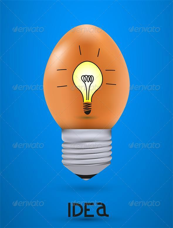 Vector concept egg with light bulb. Eps10 - Food Objects