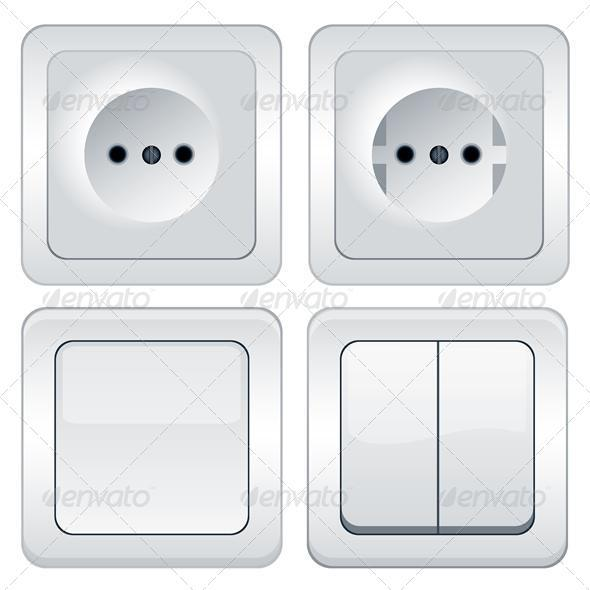 Vector sockets and switches isolated on white - Miscellaneous Conceptual