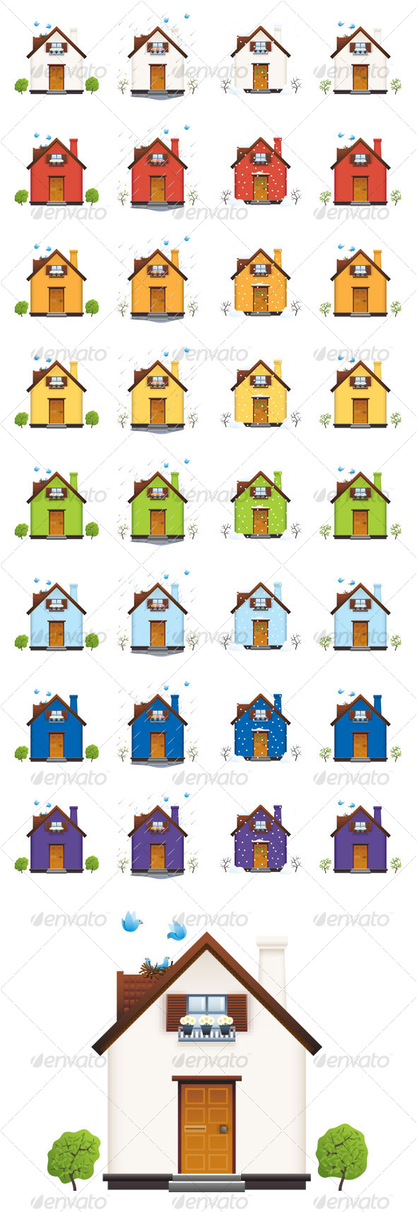 Colorful Houses in Four Seasons Icon Set - Buildings Objects