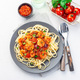 Puttanesca pasta with shrimps in spicy sauce, square, closeup - PhotoDune Item for Sale