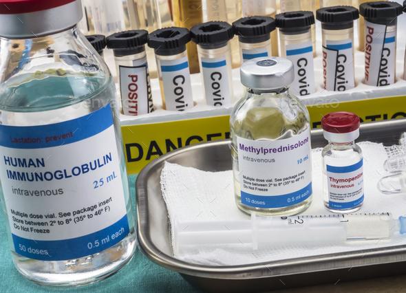 Diverse medication prepared to treat Kawasaki disease - Stock Photo - Images
