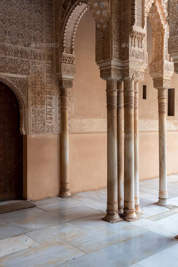 Moorish arches in The Alhambra, Granada, Spain - Stock Photo - Images