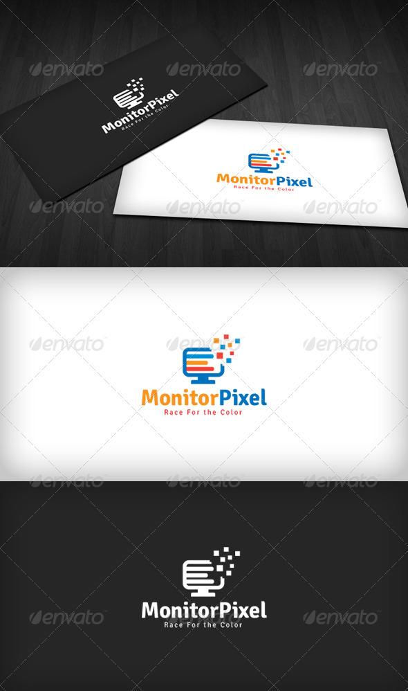 Monitor Pixel Logo - Vector Abstract