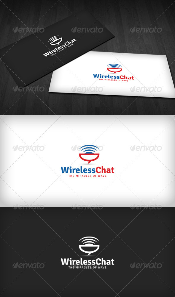 Wireless Chat Logo - Vector Abstract