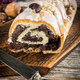 Poppy seed strudel with icing. - PhotoDune Item for Sale