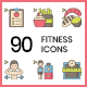 90 Fitness & Healthy Living Icons - Hazel Series