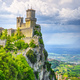 San Marino, medieval tower on a rocky cliff and panoramic view of Romagna - PhotoDune Item for Sale