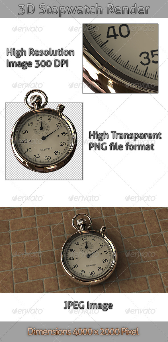 3D Stopwatch Render - Objects 3D Renders