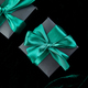 Luxury black gift boxes with green ribbon - PhotoDune Item for Sale