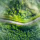 Aerial view of road in beautiful green forest in low clouds - PhotoDune Item for Sale