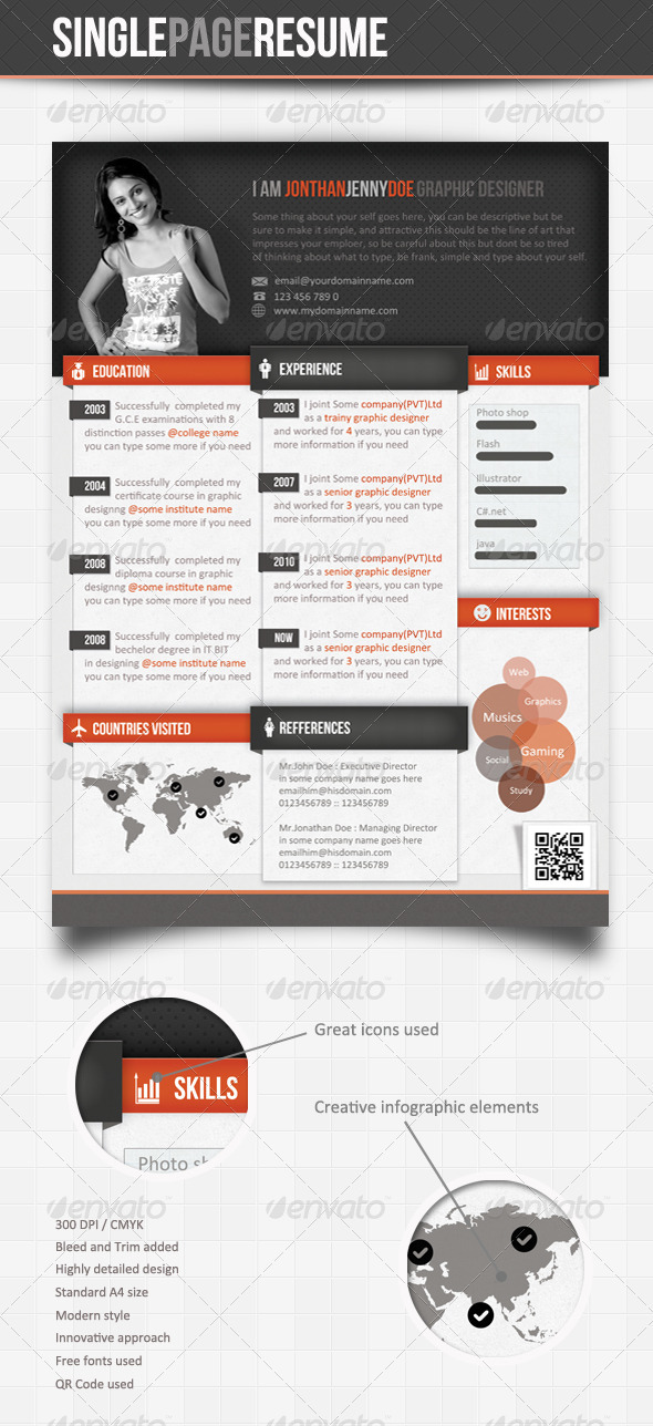 Info-graphic Single Page Resume  - Resumes Stationery