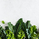 Fresh picked greens from the garden, collards, kale, broccoli - PhotoDune Item for Sale