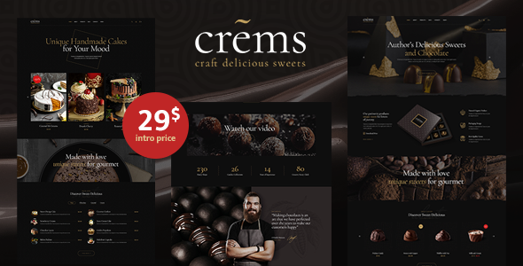 Crems - Elegant Chocolate Sweets & Pastry WordPress Theme
