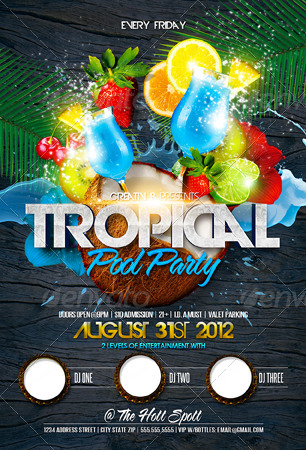 tropical summer party flyer template by creativb graphicriver