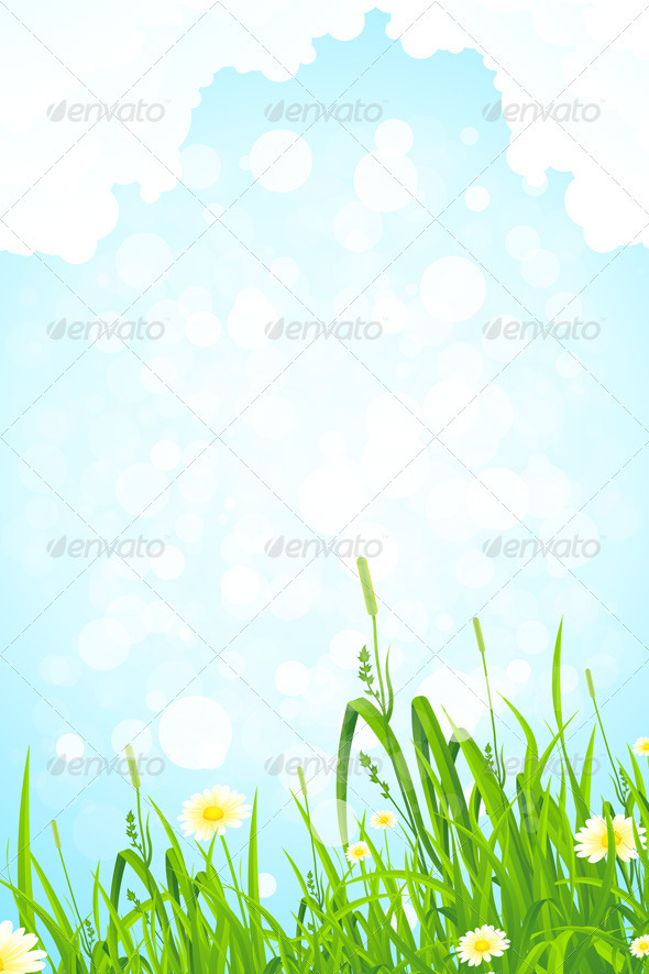 Background with Grass and Sky - Landscapes Nature
