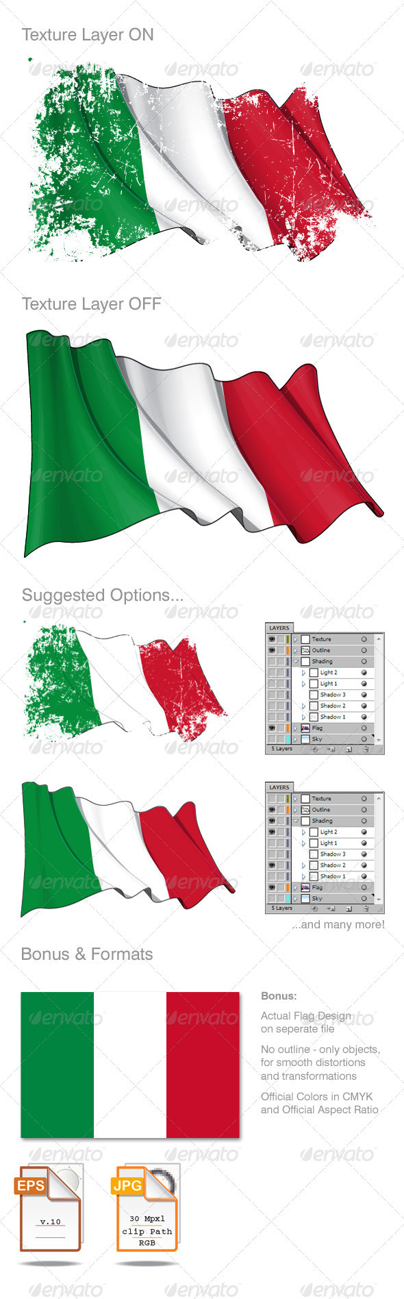 Italy Flag Grunge  - Backgrounds Decorative