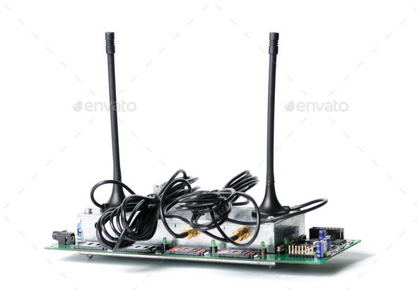 Close-up of a radio device with antennas - Stock Photo - Images