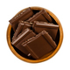Dark nut chocolate, cut into square shaped pieces, in a wooden bowl - PhotoDune Item for Sale