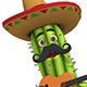 Cartoon Cactus In Sombrero Playing Guitar - VideoHive Item for Sale