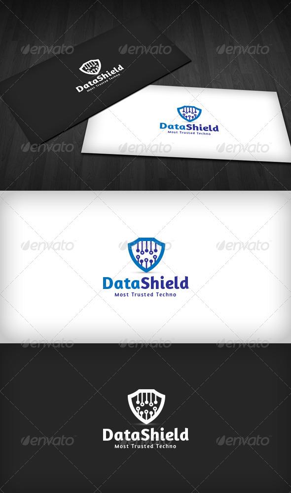 Data Shield Logo - Vector Abstract