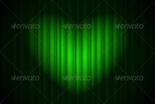 Stage with green curtain and spotlight - Backgrounds Decorative