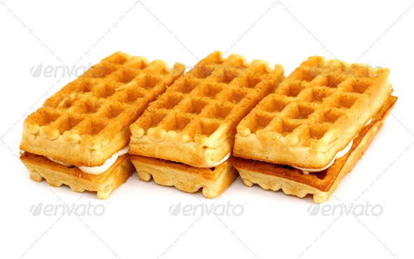 waffle cookies stacked - Stock Photo - Images