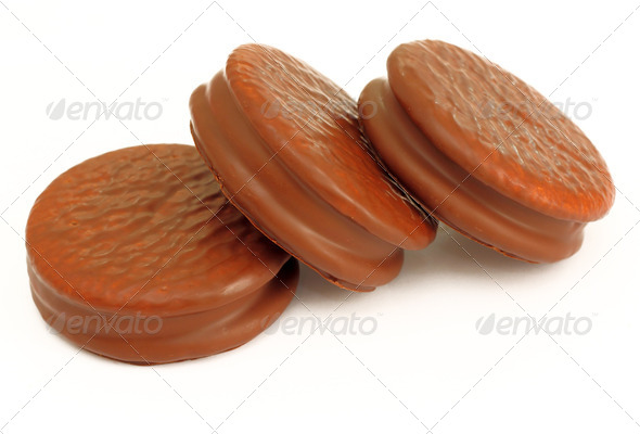Stack of three chocolate cream  cookies - Stock Photo - Images