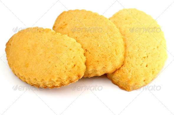 three shortbread cookies stacked - Stock Photo - Images