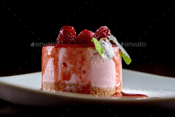 Tasty raspberry souffle with mint - Stock Photo - Images