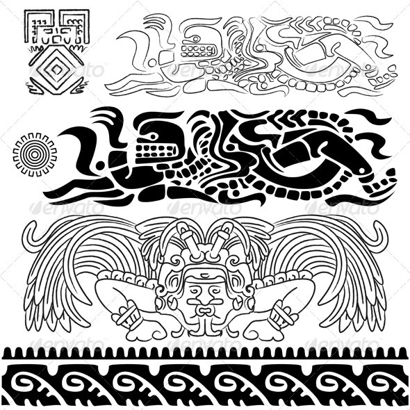 Ancient patterns with Mayan gods - Decorative Symbols Decorative