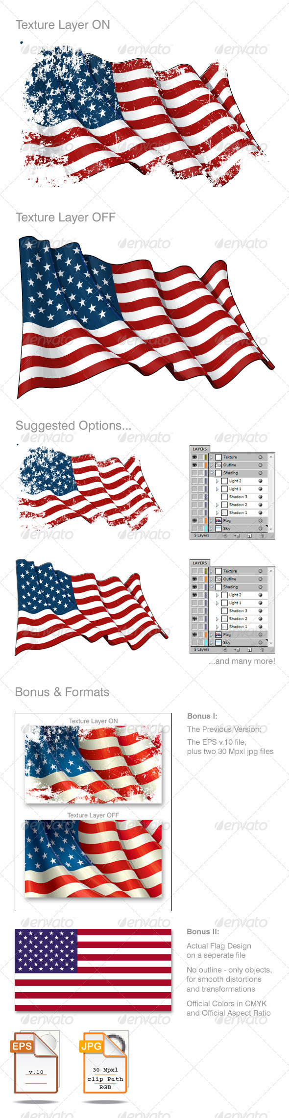 American Flag Grunge - Backgrounds Decorative