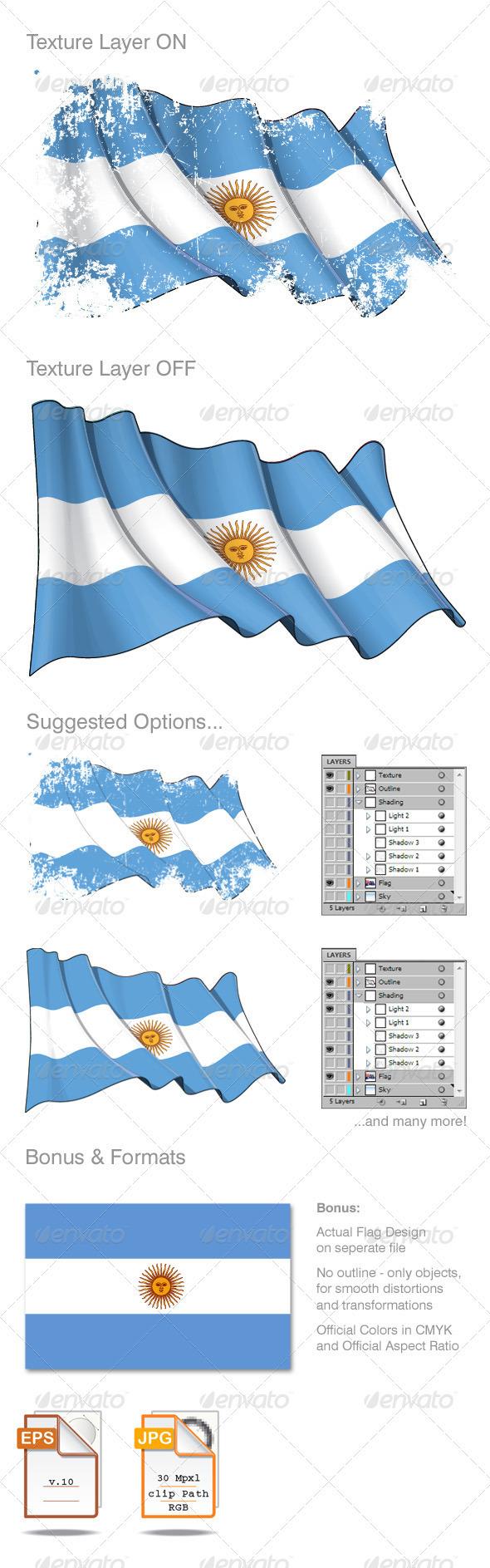 Argentina Flag Grunge - Backgrounds Decorative