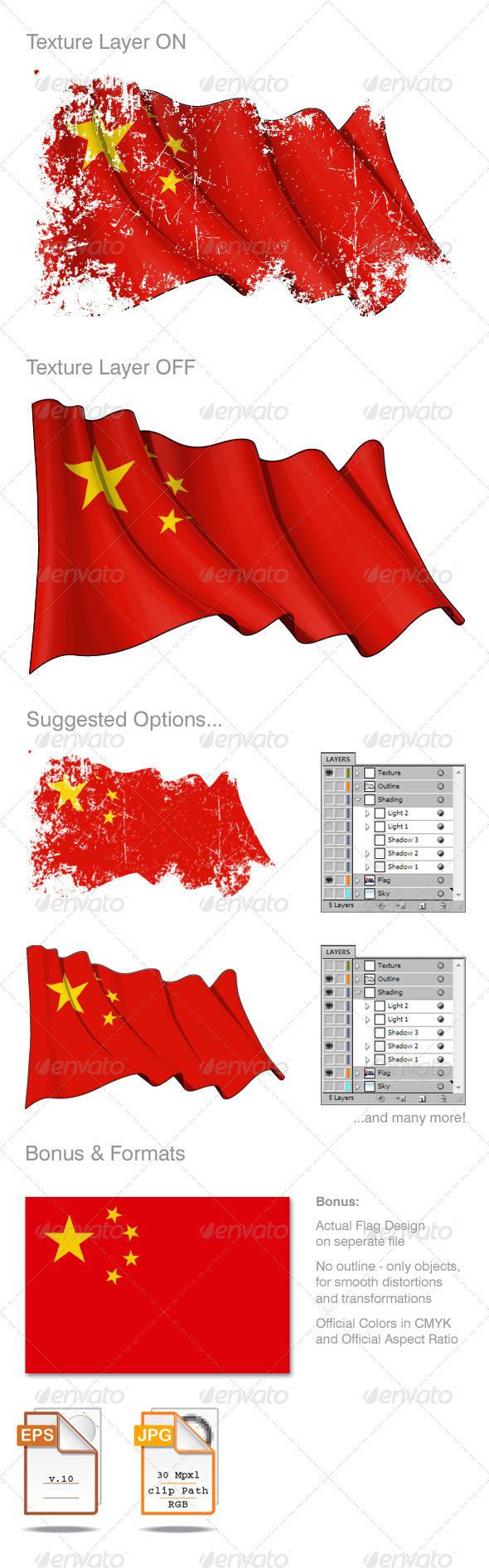 China Flag Grunge - Backgrounds Decorative