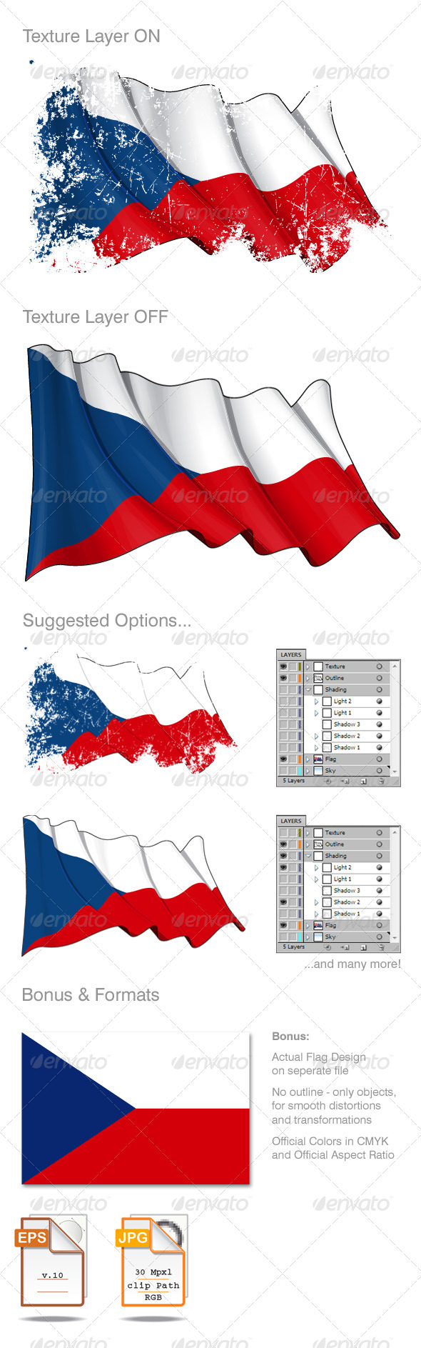 Czech Republic Flag Grunge - Backgrounds Decorative