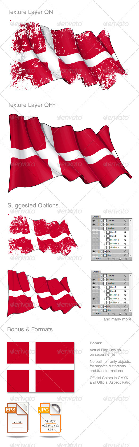 Denmark Flag Grunge - Backgrounds Decorative