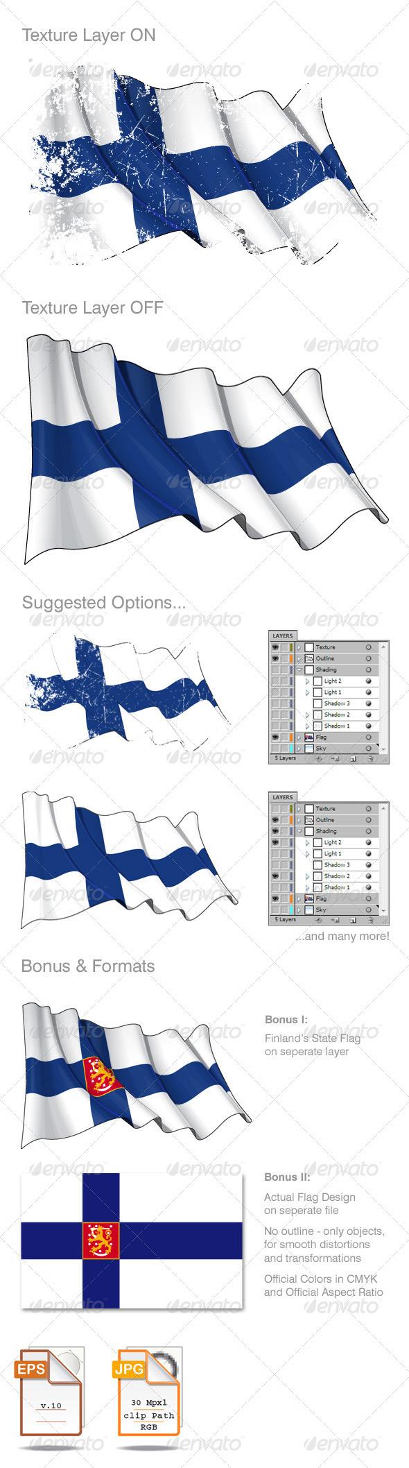 Finland Flag Grunge - Backgrounds Decorative