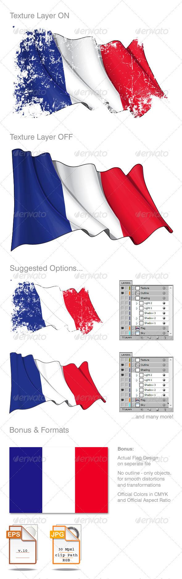 France Flag Grunge - Backgrounds Decorative